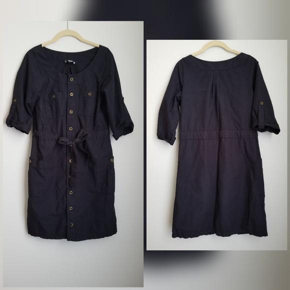 LOFT Dresses & Skirts - LOFT navy blue shirt dress brass buttons